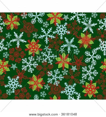 Poinsettias Snow Flakes Green Pattern