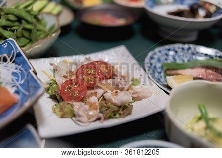 Rei-shabu Is A Cold Shabu-shabu Salad Typical Traditionnal Japanese Dish.