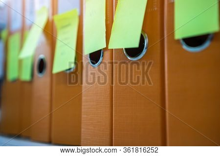 Binders File Paperwork, Documents With Stiky Note And Blank Label On Shelf In Archive Files Folder O