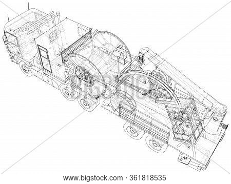 Oilfield Coiled Tubing Equipment. Coiled Tubing Reel On A Trailer. Wire-frame. Top View. The Layers
