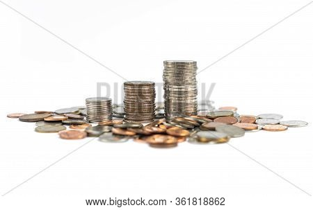 Image On White Background, Money Coin Stack, Tower Coins Which Surrounded By Many Different Coins, S