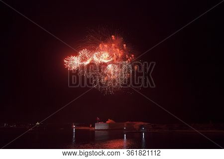 Sevastopol, Crimea, Russia - July 28, 2019: Fireworks In Honor Of The Navy Day At The Konstantinovsk