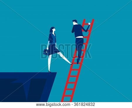 The Business Unethical Competition. Concept Business Competitive Vector Illustration, Colleagues Bet