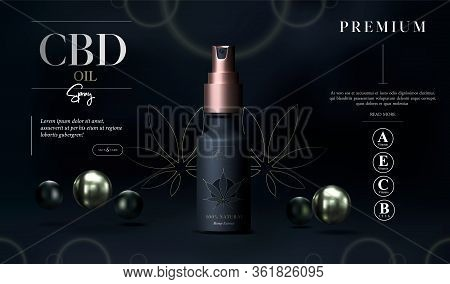 Cbd Oil Benefits. Cannabis Oil. Marijuana Background. Realistic Glass Bottle With Hemp Oil. Mock Up