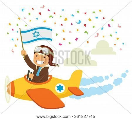 Israeli Independence Day Celebration. Pilot Flying An Airplane With The Israeli Flag In A Traditiona