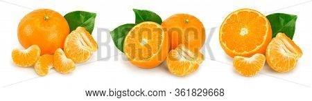 Tangerine Or Mandarin Fruit With Leaves Isolated On White Background. Set Or Collection
