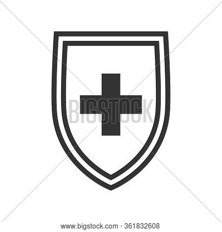 Medical Immune Shield Icon. Immune System Concept. Protection Health Sign Isolated On White Backgrou