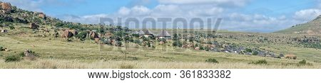 Golden Gate Highlands National Park, South Africa - March 6, 2020: Panoramic View Of The Basotho Cul