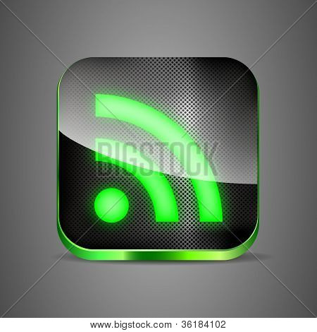 Wifi App Icon On Metal Background. Vector Illustration, Green Wireless Button