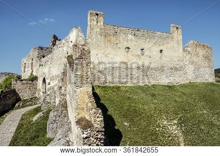 Beckov Castle Ruins, Slovak Republic, Europe. Travel Destination. Vertical Composition.