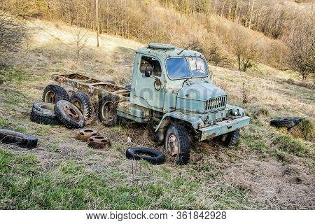 Old Rusty Truck. Retro Photo. Vintage Car.