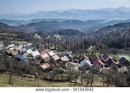 Vrsatske Podhradie Village, White Carpathian Mountains In Slovak Republic. Travel Destination.
