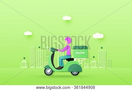Online Delivery Service Concept. Mobile Order Tracking. Delivery Scooter To Destination. Online City