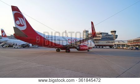 Berlin, Germany - Jul 06th, 2015: Air Berlin Boeing 737 Parking At The Apron Of Tegel Airport. Homeb
