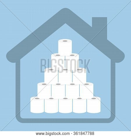 Stack Of Toilet Paper In Quarantine Info Graphic Vector Illustration Eps10