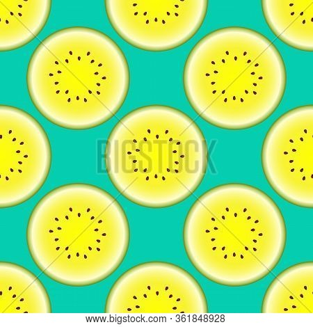 Vector Watermelon Seamless Pattern. Half Watermelon On Turquoise Background. Colorful Vector Illustr