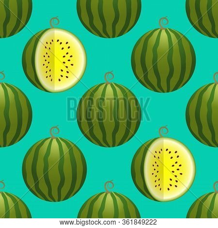 Vector Watermelon Seamless Pattern. Whole And Cutted Watermelon On Turquoise Background. Colorful Ve