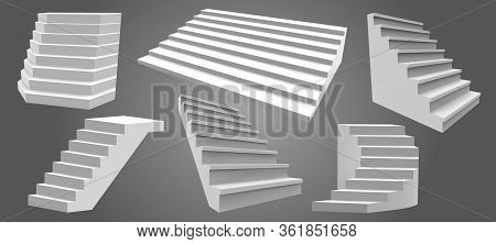 Exterior Realistic Stairs. Architectural Home Staircase, Modern Stairway. Ladders, Architectural Sta