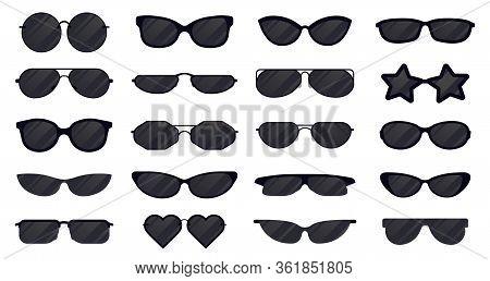 Sunglasses Eyewear. Glasses Silhouette, Sun Elegant Eyewear, Black Plastic Spectacles. Sun Lens Eyew