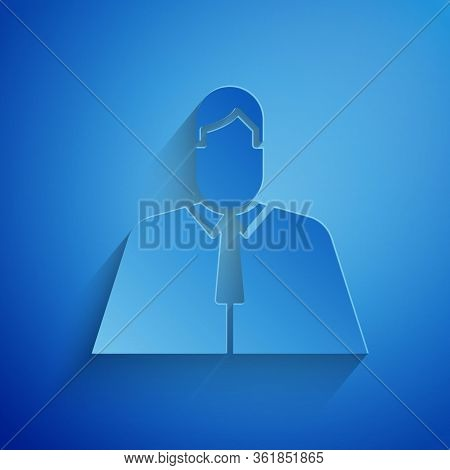 Paper Cut Lawyer, Attorney, Jurist Icon Isolated On Blue Background. Jurisprudence, Law Or Court Ico