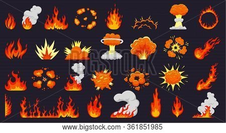 Cartoon Fire Explosions. Fire Flames, Hot Campfire, Explosive Bomb Clouds, Flaming Explode. Flame Si