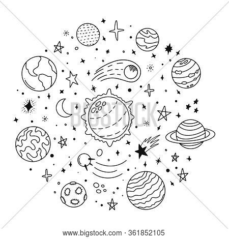 Doodle Solar System. Hand Drawn Sketch Planets, Cosmic Comet And Stars, Astronomy Space Doodles. Cel