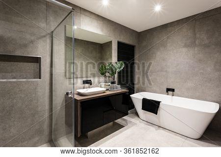 Modern Bathroom With A Shower Area And Bath Tub Including A Wall Mirror Beside A Fancy Plant Near A