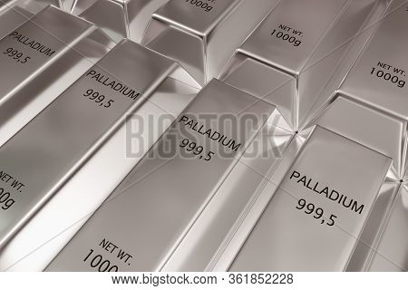 Stacked Rows Of Shiny Palladium Ingots Or Bars Background - Precious Metal Or Money Investment Conce