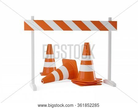 Orange Traffic Warning Cones Or Pylons With Street Barrier On White Background - Under Construction,