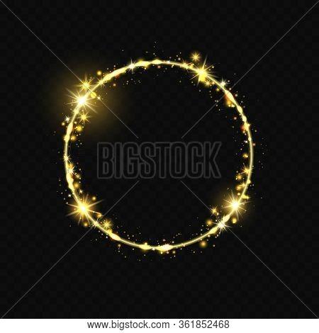 Shiny Round Frame. Shiny Circle Frame, Stardust Glitter Stars Trace, Round Shining Magic Swirl Vecto