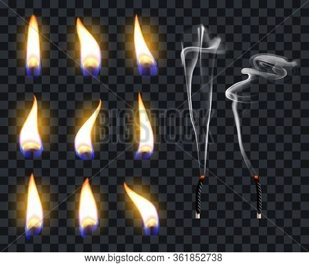 Realistic Candle Flames. Candlelight Fire Flame, Candles Warm Burn. Fire Transparent Illuminate Flam