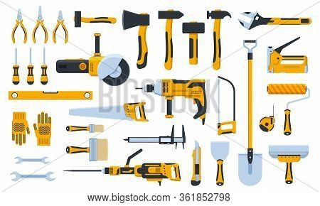 Construction Tools. Building Repair Hand Tools, Renovation Kit, Hammer, Saw, Drill And Shovel. Home