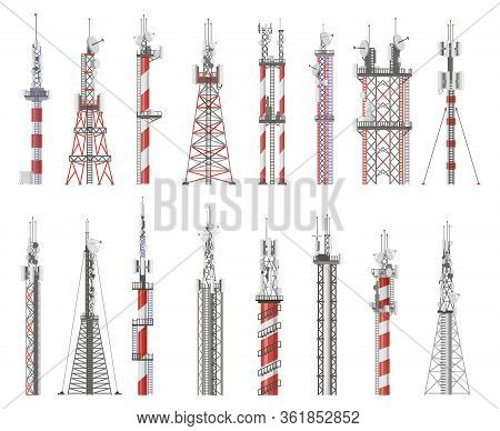 Broadcast Technology Tower. Communication Antenna Tower, Wireless Radio Signal Station. Cellular Net
