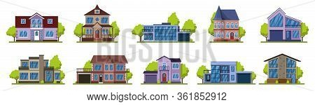 Cottage Houses. Suburban Real Estate, Modern Country Street Buildings. Living Houses Vector Illustra