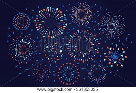 Celebration 4th July Usa Fireworks. Festival Firecracker, Colorful Fireworks Explosions, Carnival Pa