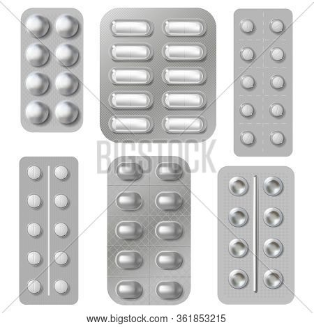 Blister Tablets And Pills Packs. Realistic Medicine Vitamins Capsule And Antibiotics Packing. Pharma