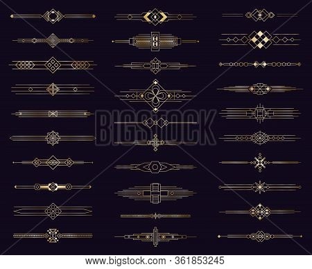 Art Deco Gold Divider. Modern Golden Elegant Border, Decorative Antique Ornament. Vintage Arabic Geo