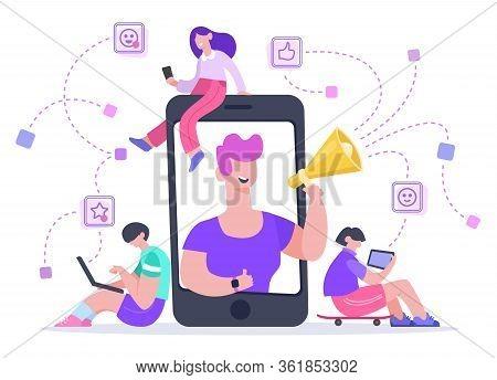 Influencer Advertising Marketing. Social Media Promotion, Phone Screen Influencer Or Blogger Interne