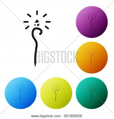 Black Magic Staff Icon Isolated On White Background. Magic Wand, Scepter, Stick, Rod. Set Icons In C