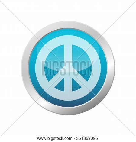 Peace And Love Symbol Vector Antiwar Pacifism Icon Hippie Culture Sign On Light Blue Circle Frame Il