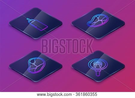 Set Isometric Line Sauce Bottle, Steak Meat, Steak Meat And Fish Steak In Frying Pan. Blue Square Bu