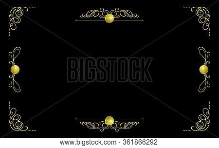 Vector Vintage Background, Colorful Golden Filigree Frame Template Isolated On Black Background, Rea