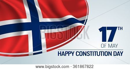 Norway Constitution Day Vector Banner, Greeting Card. Norwegian Wavy Flag And Sign With Date In 17th