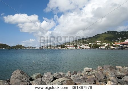 The View Of Long Bay And Charlotte Amalie Resort Town On St. Thomas Island (u.s. Virgin Islands).