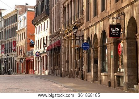 MONTREAL-CANADA, APRIL 15, 2020: Empty street usually busy in downtown Montreal in Canada during the quarantine cause by corona pandemic