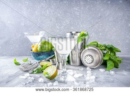 Basil Vodka Gimlet Martini