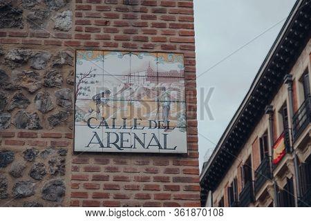 Madrid, Spain - January 26, 2020: Street Name Sign On Arsenal Street (