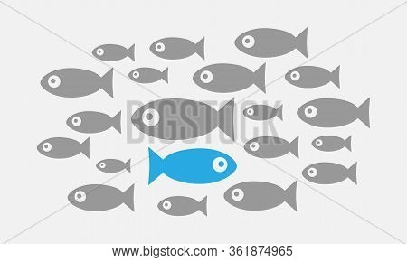 Individuality Concept. Not Like Everyone Else. Fish Swims Against The Tide