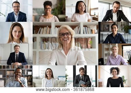 Diverse Businesspeople Using Videoconference Application Laptop Webcam Screen View
