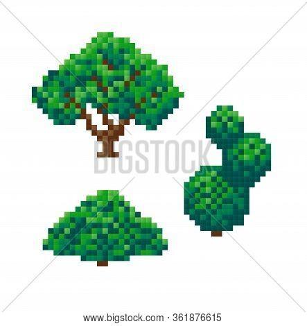 Set Of Pixel Bushes, Pixel Art On White Background. Vector Illustration